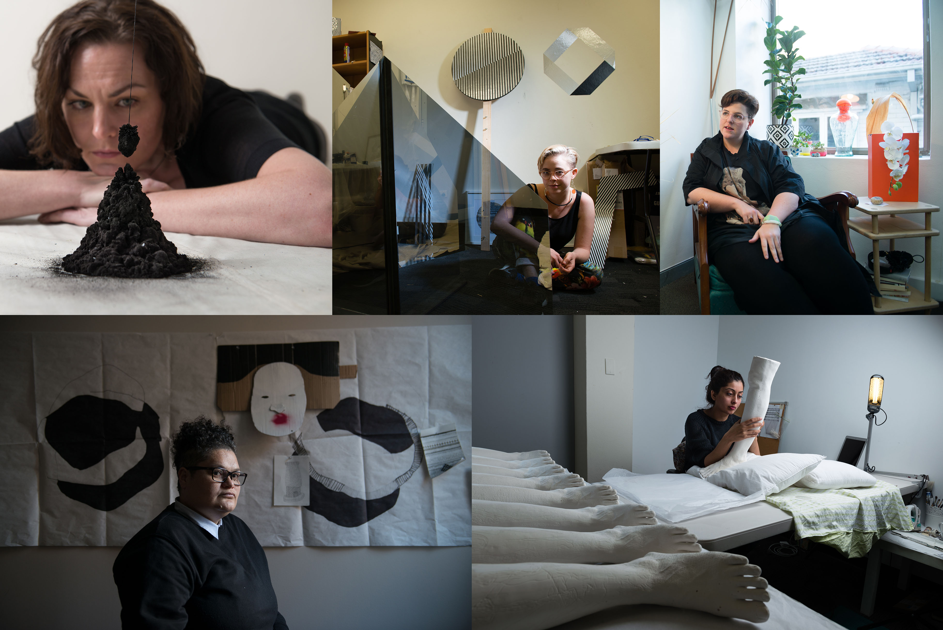 Image: 2016 Parramatta Artists Studio artists (clockwise from top left): Emma Fielden, Nadia Odium, Anna McMahon, Salote Tawale and Mehwish Iqbal